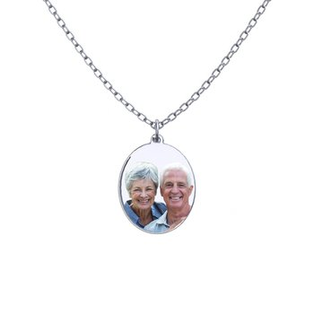 - Large Oval Laser Enameled 26x36mm Customized Engravable Photo Picture Pendant