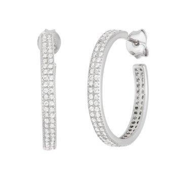 Sterling Silver 3mm Wide Double Row CZ J Hoop Earrings
