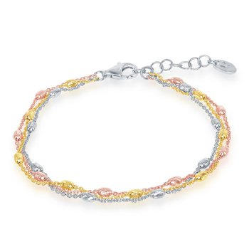 Sterling Silver Tri Color 2.5mm Graduating Oval Diamond-Cut Beaded Triple Strand Bracelet/Necklace