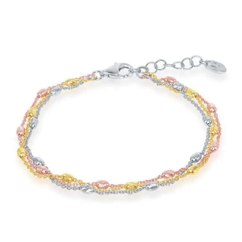 Fashion Jewelry Collection Sterling Silver Tri Color 2.5mm Graduating Oval Diamond-Cut Beaded Triple Strand Bracelet/Necklace