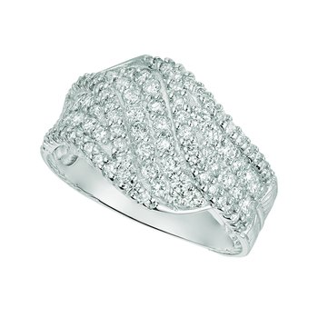 14K Gold 1.33ctw. Diamond Cluster Bypass Cocktail Anniversary Band Ring