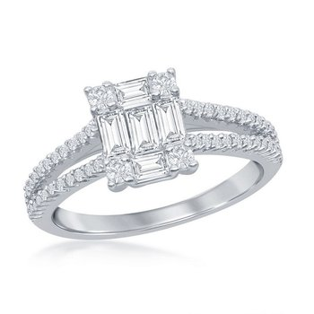 - Sterling Silver Baguette and Round CZ Accented Split Shank Engagement Ring