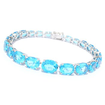 - 14k White Gold 25.47Ctw. Swiss Blue Topaz Gemstone Tennis Bracelet