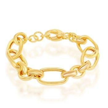 "- Bella Moda Sterling Silver w/14K Yellow Gold Overlay Mixed Link Bracelet - 8"""