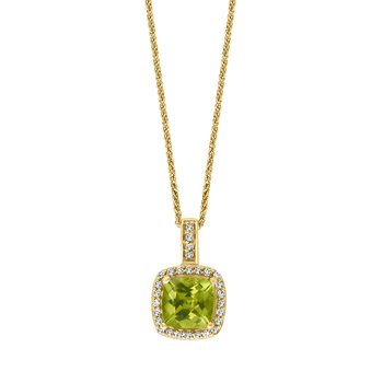 - 14k Yellow Gold 0.11Ctw. Diamond Halo and 1.04Ct. Peridot Gemstone Fancy Chain Pendant