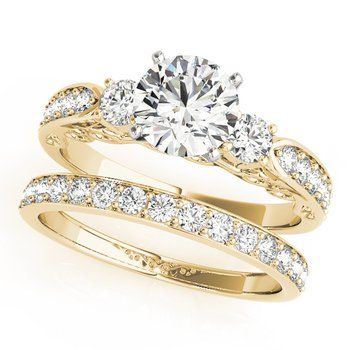 - Round 3-Stone Accented Diamond Engagement Ring and Wedding Band Set