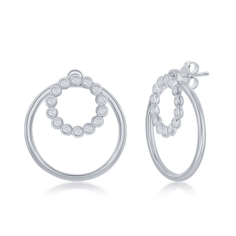 Fashion Jewelry Collection Sterling Silver Bezel-Set CZ Circle and Plain Open Circle Chain Necklace and Earrings Set