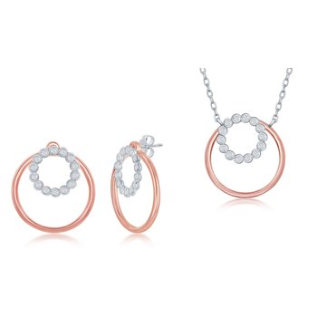 Sterling Silver Bezel-Set CZ Circle and Plain Open Circle Chain Necklace and Earrings Set