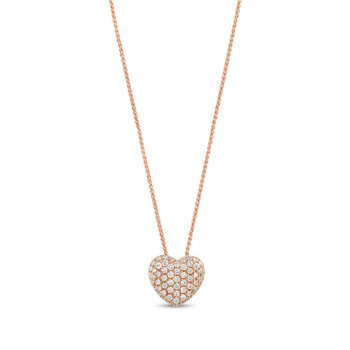- 14k Rose Gold Pave Diamond Heart Chain Pendant