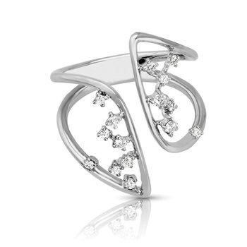1/5ct. Diamond 14k White Gold Freeform Right Hand Ring