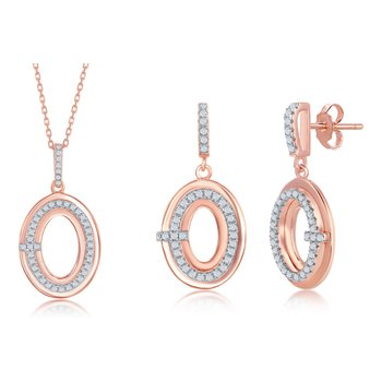 Sterling Silver 14k Rose Gold Plated Oval CZ Pendant and Earrings Set