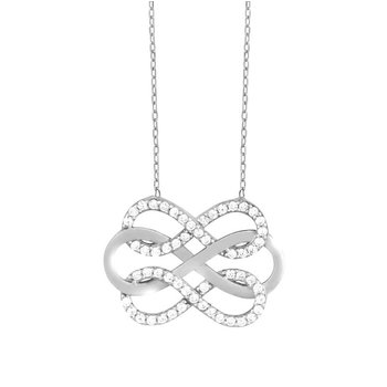 - Sterling Silver Large Infinity with Double CZ Infinity Necklace - 16""