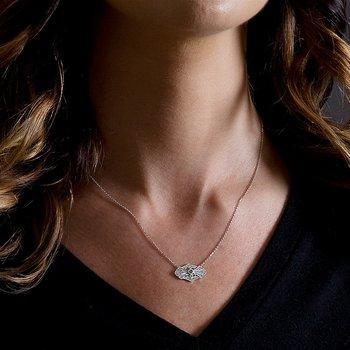 - 1/5ct. Diamond & 1/20ct. Round Emerald Gemstone 14k Gold Chain Necklace