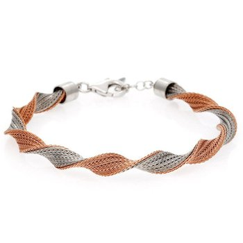 - Sterling Silver and 14k Rose Gold Plated Twisted Bracelet - 7.50""