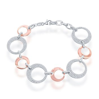 Sterling Silver Alternating Shiny Open Circle with CZ Larger Open Circle Bracelet and Pendant and Earrings Set