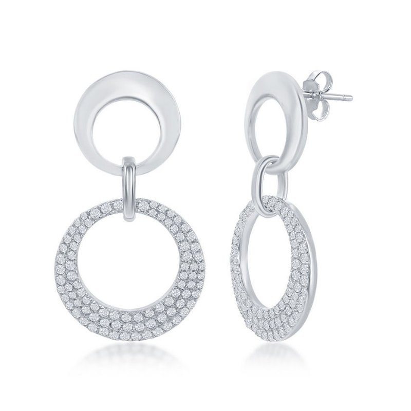 Fashion Jewelry Collection Sterling Silver Alternating Shiny Open Circle with CZ Larger Open Circle Bracelet and Pendant and Earrings Set