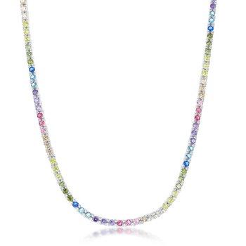 "- Sterling Silver Multi-Color Rainbow Round CZ 3mm Tennis Neckalce - 18"""