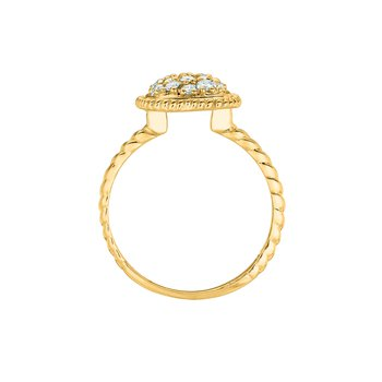 14K Gold 0.51ctw. Diamond Cluster Square Twist Rope Cocktail Anniversary Ring