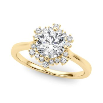 Round Accented Diamond Engagement Ring