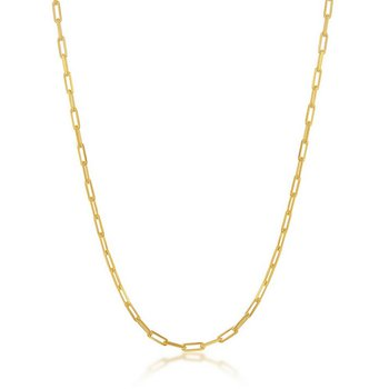 - Sterling Silver 14k Yelow Gold Plated 1.8mm Paper Clip Style Chain Necklace