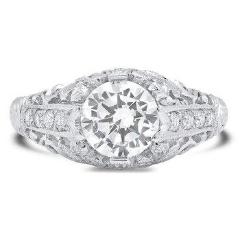 - Floral Filigree Diamond Gold Semi-Mount Engagement Ring
