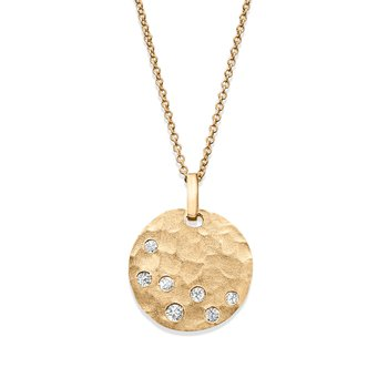 - 1/5ct. Diamond Hammered Finish Disc Circle Plate 14k Gold Pendant Chain Necklace