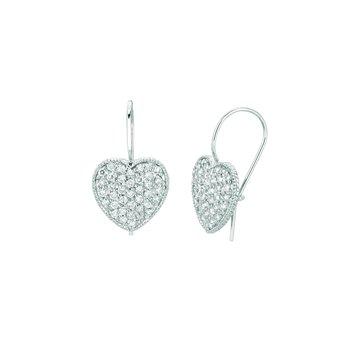 14K White Gold 1.06ctw. Diamond Heart Fishhook Drop Earrings