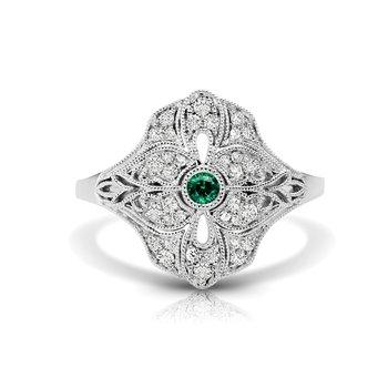 - 1/5ct. Diamond & Emerald Round Gemstone 14k Gold Vintage-Inspired Right Hand Ring