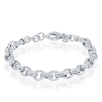 "- Bella Moda Sterling Silver Rolo High Polished Link Chain Bracelet - 7.50"""
