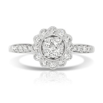 - 1/3ct. Diamond 14k Gold Halo Cluster Engagement Promise Ring
