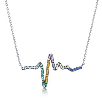 """- Sterling Silver Gold Plated Multi-Color Rainbow Round CZ Heartbeat EKG Necklace - 18"""""""
