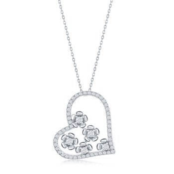 Sterling Silver CZ Floral Heart Pendant Chain Necklace