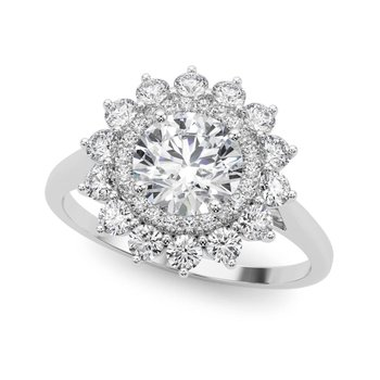 Round Floral Accented Halo Diamond Engagement Ring