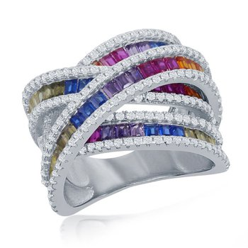 - Sterling Silver Multi-Color Rainbow Baguette CZ 'X' Ring