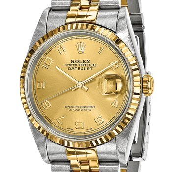 : Pre-Owned Independently Certified Rolex Gents Datejust Steel/18k with Champagne Arabic Numerals Dial, and Jubilee Band