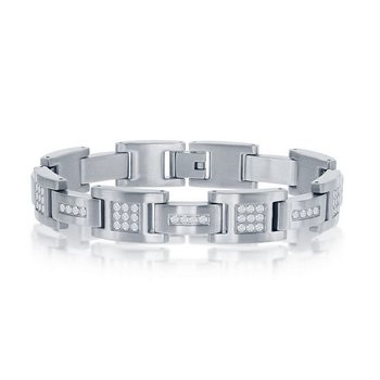 - Stainless Steel Yellow Gold Plated Matte Finish Set with CZ Stones Link Bracelet for Men