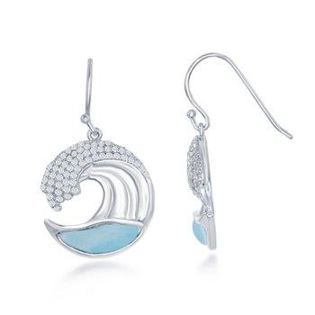 - Caribbean Treasures CZ Stones Sterling Silver Larimar Gemstones Ocean Wave Fishhook Dangle Drop Earring Pair