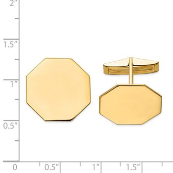 14k Yellow Solid Gold Polished 20mm Octagonal Plain Engravable Personalized Men's Cuff Links