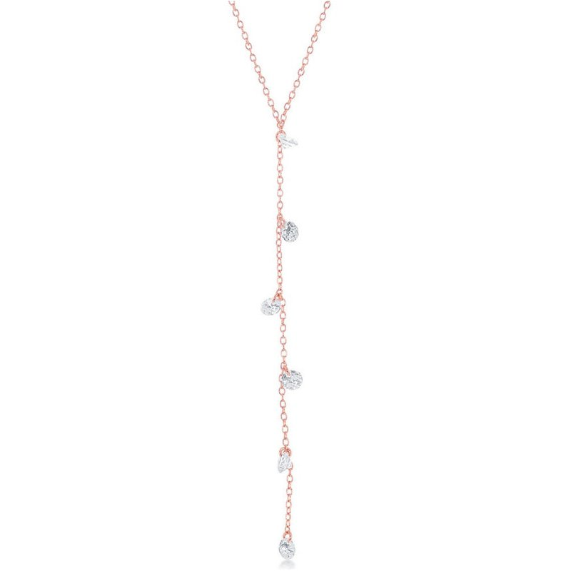 Fashion Jewelry Collection Sterling Silver Hanging CZ Lariat Y Chain Necklace