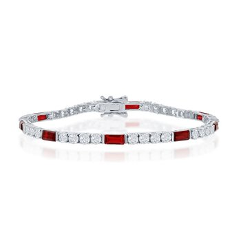 Sterling Silver White Round CZ and Emerald-Cut Red CZ 3mm Tennis Bracelet