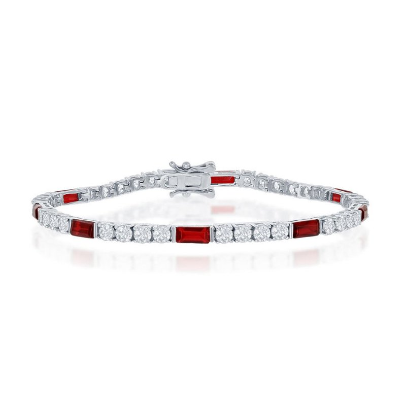 Fashion Jewelry Collection Sterling Silver White Round CZ and Emerald-Cut Red CZ 3mm Tennis Bracelet