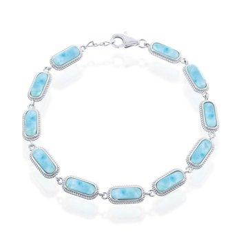 """- Caribbean Treasures Sterling Silver Larimar Gemstones Bracelet - 7.50"""""""