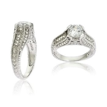 Sterling Silver Round CZ Accented Vintage-Inspired Engagement Ring