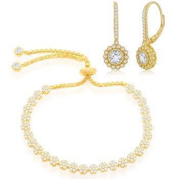 Sterling Silver CZ Flower Adjustable Bolo Bracelet and Flower Halo Earring Set