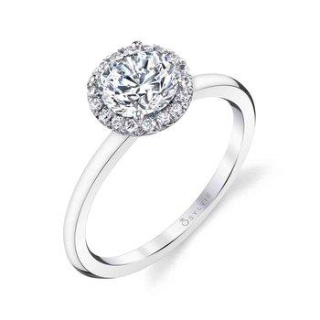 - Classic Diamond Halo Semi-Mount Engagement Ring