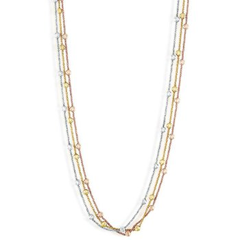 Sterling Silver Tri Color 4mm Graduating Round Diamond Moon Cut Beaded 3-Strand Bracelet/Necklace