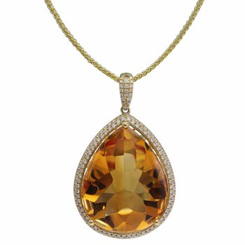 """""""Limited-Edition"""" Collection 18k Yellow Gold Halo Diamond and Citrine Chain Pendant"""