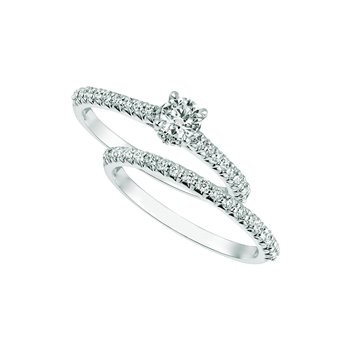 14K White Gold 0.75ctw. Diamond Solitaire Accented Engagement Wedding Ring Set