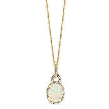 - 14k Yellow Gold 0.13Ctw. Halo Diamond and 8x6mm Australian Opal Gemstone Fancy Chain Pendant
