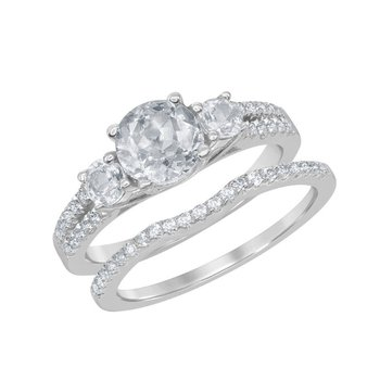 Sterling Silver 2.40ctw. White Topaz Round Gemstone Three-Stone Accented Wedding Band and Engagement Ring Set